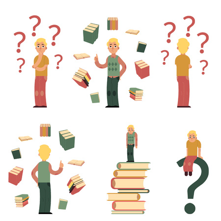 Illustrazione per Young male characters in doubts, choosing and making decisions and students with books around set. Men in casual clothing, glasses standing, sitting with happy and sad faces. Vector illustration - Immagini Royalty Free