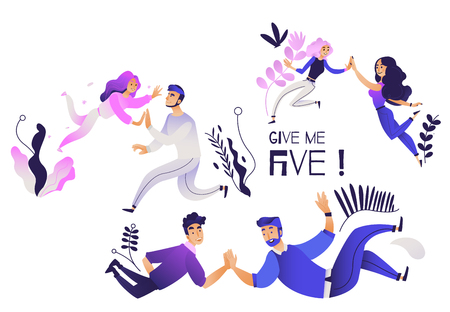 Illustration pour Give me five gesture set - various pairs of people giving each other high five. Isolated cartoon characters joining together their hand palms in trendy gradient vector illustration. - image libre de droit