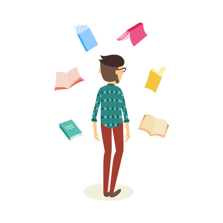 Illustrazione per Cheerful student caucasian man standing back to the camera in casual clothing with textbooks flying around. Male character and education, university, college concept. Vector isolated illustration - Immagini Royalty Free