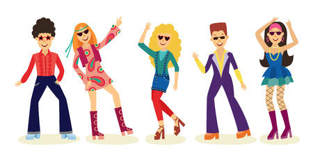 Illustration pour People dancing disco set with men and women in fashion clothes 70s isolated on white background. Vector illustration collection of night club or party dancers in retro style. - image libre de droit