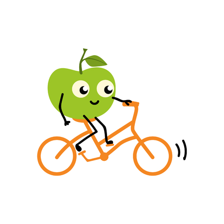 Illustration pour Doing sport fruit - green fresh ripe apple riding bike isolated on white background. Cute cartoon smiling character doing exercises for healthy and active lifestyle concept. Vector illustration. - image libre de droit