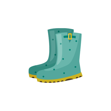Illustration pour Pair of rubber boot in turquoise color - waterproof autumn footwear for seasonal design in flat style. Isolated vector illustration of gumboots for protection against water and puddles. - image libre de droit