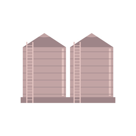 Illustration for Granary farm construction - vector illustration of village tower to store bulk materials and silo isolated on white background. Agricultural storehouse for grain in flat style. - Royalty Free Image