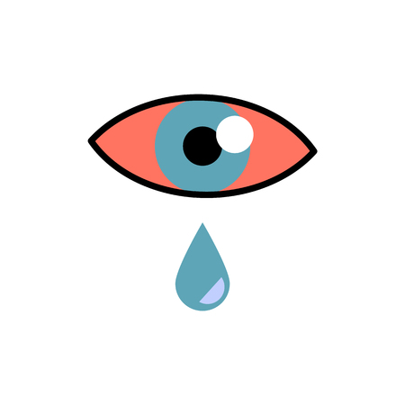 Illustration pour Conjunctivitis concept with red eye and lacrimation - symptom of swelling of conjunctiva or allergy in flat vector illustration. Pink eye with tear drop isolated on white background. - image libre de droit