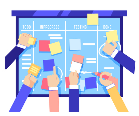 Illustration pour Scrum board concept with human hands sticking colorful papers and writing tasks on blue board isolated on white background. Agile methodology to manage business project in flat vector illustration. - image libre de droit