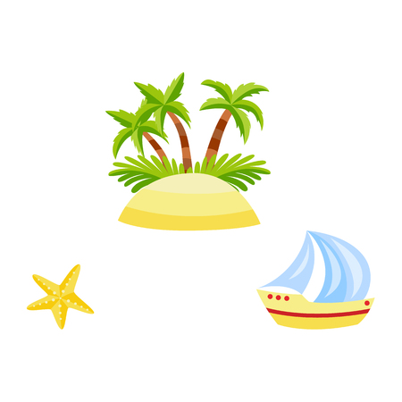 Illustration for Vector flat travelling, beach vacation symbols icon set. Summer holiday rest elements - sand island with palm tree plant with coconut, starfish, sailing yacht. Isolated illustration, white background - Royalty Free Image