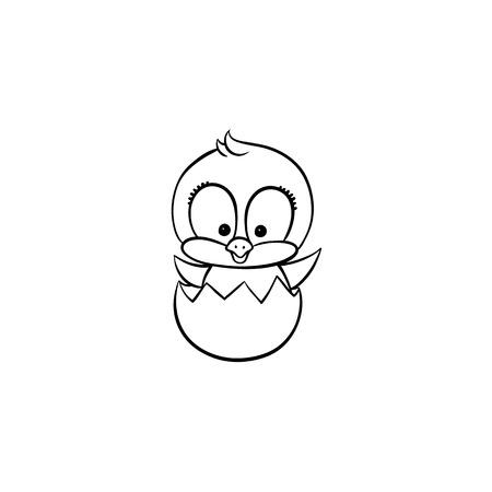 Illustration pour vector flat cute baby chicken monochrome small funny chick hatching from egg. Flat bird animal, isolated illustration on a white background, poultry, farm coloring book design object. - image libre de droit