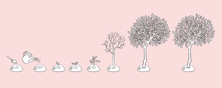Illustration pour Vector flat tree planting stages, symbols icon set. green tree apple, pear fruits with foliage, sprouting seedling, shover digging pit, watering can pouring seed, smiling sun monochrome illustration - image libre de droit