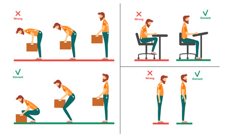 Illustration pour Correct, incorrect neck, spine alignment of young cartoon man character sitting at desk, lifting weight. Head bending positions, inclination of neck. Spine care concept. Vector isolated illustration - image libre de droit