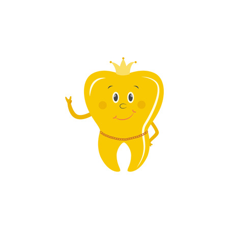 Illustration for Golden tooth crown cartoon character stands smiling showing peace hand gesture with crown on head and gold chain around neck isolated on white background, vector illustration. - Royalty Free Image