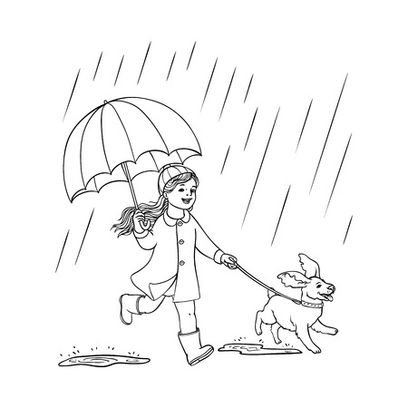 Illustration pour Vector sketch cartoon young girl kid cute child coat walking dog puppy pet holding umbrella under rain smiling. Female character rainy autumn weather Isolated monochrome illustration white background - image libre de droit