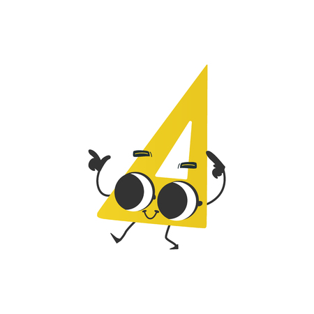 Illustration for Flat humanized triangle ruler or square with arms and face emotions. Flat vector illustration. Happy, smiling character waving hands, Back to school concept, kids education instrument. - Royalty Free Image