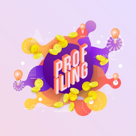 Ilustración de Profiling trendy background template with gradient colors and abstract geometric shapes, golden coins and light bulbs. Vector modern poster, banner, presentation layout illustration - Imagen libre de derechos