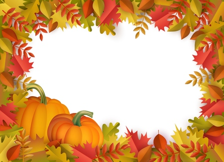 Illustration for Autumn leaves and pumpkins border frame background with space text . Seasonal floral maple oak tree orange leaves with gourds for thanksgiving holiday, harvest decoration vector design. - Royalty Free Image