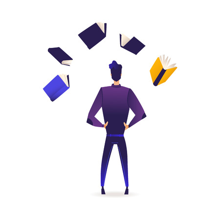 Ilustración de Young man stands back surrounded by flying books and information sources isolated on white background. Back view of male cartoon character of student or analyst in gradient vector illustration. - Imagen libre de derechos