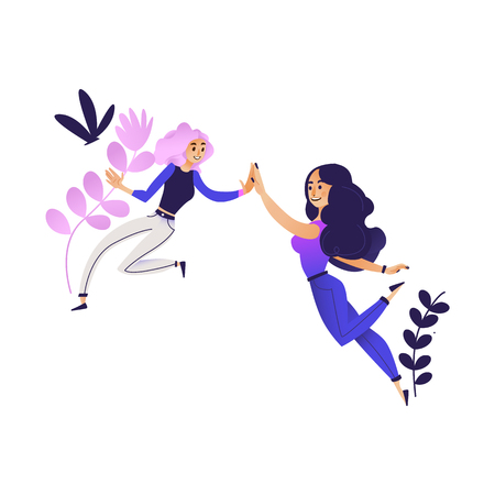 Illustration pour Cheerful young women giving high five smiling on abstract floral background. Cute female characters having fun expressing symbol of friendship cooperation teamwork. Vector cartoon illustration - image libre de droit