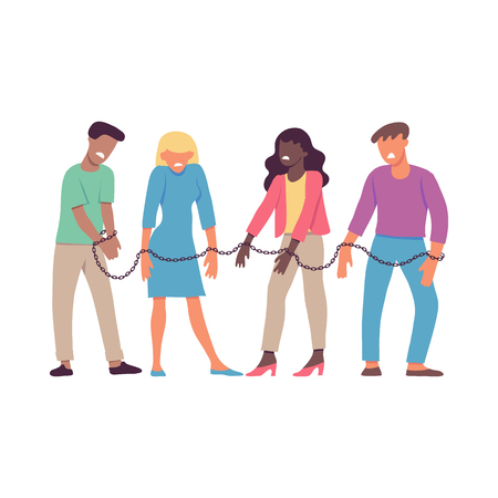 Illustrazione per Vector illustration of bound by one chain people forced to work or be together in flat style isolated on white background. Disgust and dislike of resigned men and women to each other. - Immagini Royalty Free