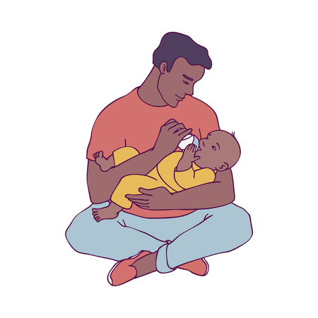 Illustration pour Vector illustration of young african father holding his child in arms and feeding him isolated on white background - smiling man and his little newborn baby in sketch style for happy family concept. - image libre de droit