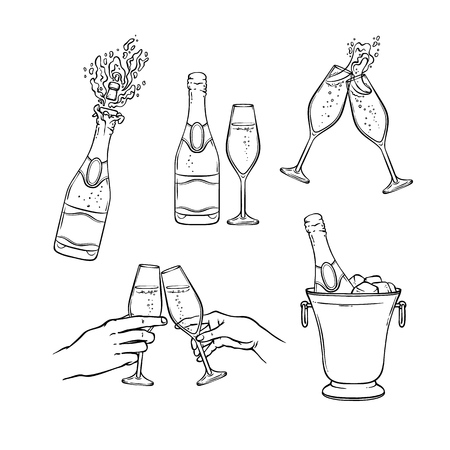 Illustration pour Champagne vector illustration set in black and white sketch style - isolated various hand drawn bottles and wineglasses with fizzy alcohol drink for holiday celebration or party. - image libre de droit