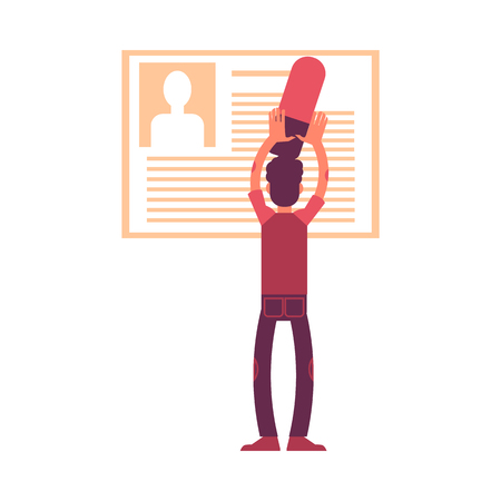 Ilustración de Vector illustration of man with big eraser deleting personal information from his profile or social network account in flat style isolated on white background. GDPR right to be forgotten. - Imagen libre de derechos