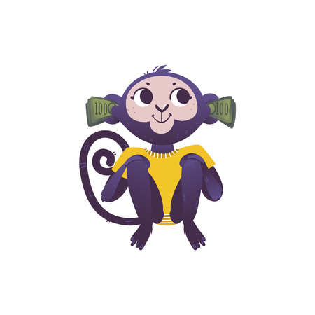 Illustration pour Vector illustration of monkey dont hear because of stacks of green banknotes of one hundred in his ears in flat style isolated on white background - wild animal with ears covered with money. - image libre de droit