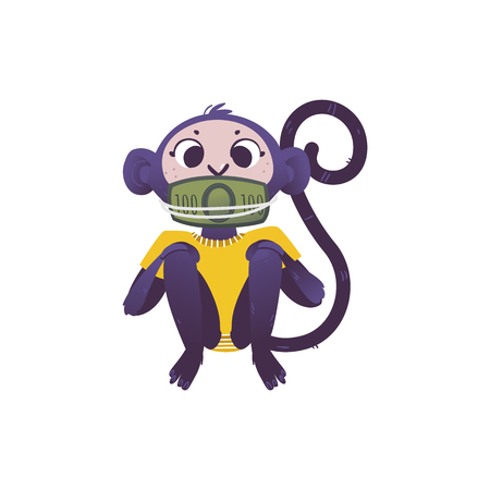Illustration pour Vector illustration of monkey dont speak because his mouth covered and tied by green banknotes of one hundred in flat style isolated on white background for bribe concept. - image libre de droit