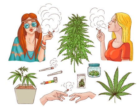 Ilustración de Vector cannabis smoking sketch collection. Hippie girl with weed joint, hemp spliff, young woman with cigarette, marijuana plant in pot, buds in package, hands with bong. Isolated illustration - Imagen libre de derechos