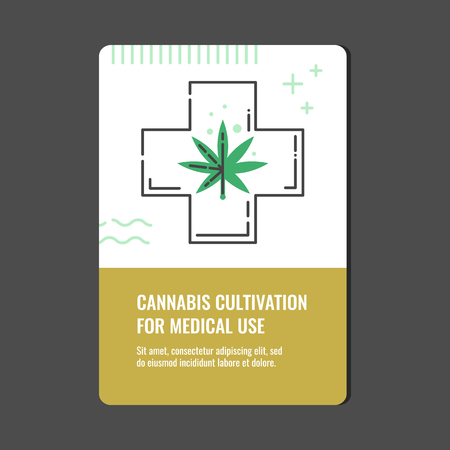 Illustration pour Cannabis cultivation for medical use vertical banner with line icon of medicinal cross with marijuana leaf - isolated vector illustration of legalization and pharmacy use of hemp concept. - image libre de droit