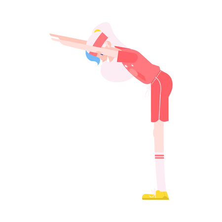 Ilustración de Vector illustration of grandmother making torso forward bending in flat style - healthy and sporty aged female character doing fitness exercises isolated on white background. - Imagen libre de derechos
