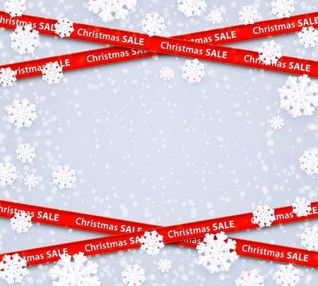 Ilustración de Vector christmas sale red stripes like restriction police awareness zone sign, marketing advertising, discounts area decoration element for xmas holiday banner, posters on snowflakes winter background - Imagen libre de derechos