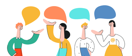 Ilustración de Vector illustration set of talking people with speech bubbles in flat style isolated on white background. Young men and women with hand gestures communicating with each other and discussing. - Imagen libre de derechos