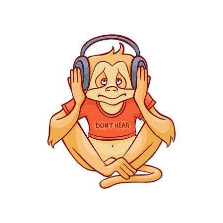 Illustration pour Vector illustration of monkey dont hear because wearing headphones on his ears and listening to music in sketch style isolated on white background - hand drawn wild animal with closed ears. - image libre de droit