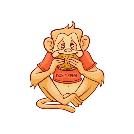 Illustration pour Vector illustration of monkey dont speak because eating big hamburger in sketch style isolated on white background - hand drawn wild animal with mouth closed with sandwich. - image libre de droit