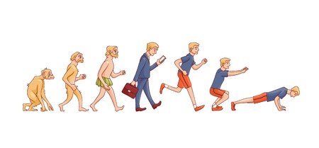 Illustration pour Vector illustration of human evolution from ape to man - hand drawn isolated evolutionary process of change and development from monkey via businessman in suit to sportsman doing exercises. - image libre de droit