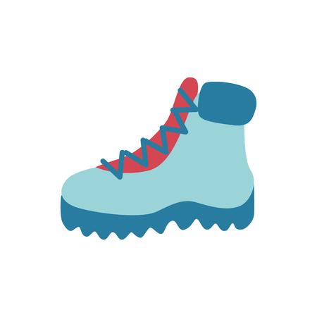 Ilustración de Vector flat boots icon. Hiking, casual walking travelling shoes for cold weather season - winter or autumn. Male, female footwear for active leisure, outdoor sport activity - Imagen libre de derechos