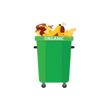 Illustration for Recycle trash bin for organic garbage in flat style isolated on white background. Vector illustration of green full of food waste for separating and sorting rubbish concept. - Royalty Free Image
