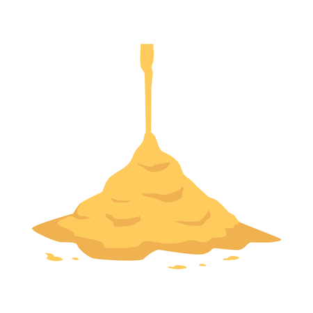 Ilustración de Sand pouring on big heap in flat style isolated on white background - vector illustration of falling down yellow crumbly powder. Cement pile or sandy mound for building or beach leisure concept. - Imagen libre de derechos