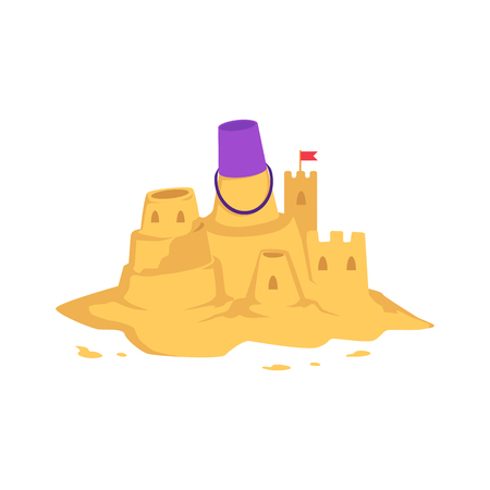 Illustration pour Sandcastle with kid toy bucket and little red flag in flat style isolated on white background - vector illustration of castle with tower made from yellow sand for summer seashore recreation concept. - image libre de droit