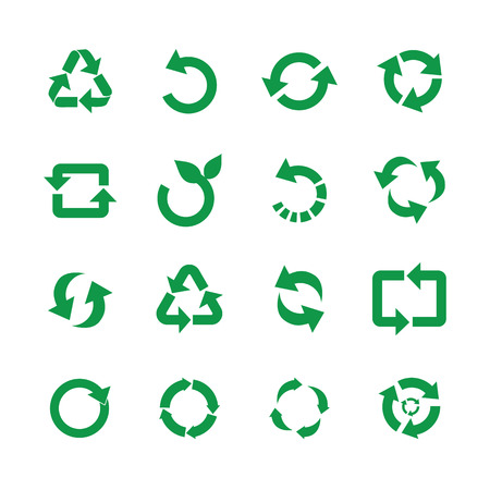 Ilustración de Zero waste and reuse symbols vector illustration set with various simple flat green signs of recycle with arrows in different forms for eco friendly materials and environmental protection concept. - Imagen libre de derechos
