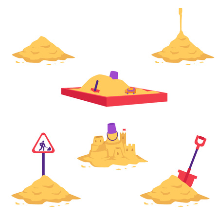 Illustration pour Sand heap vector illustration set - various piles of yellow dry powder using in building and repair works or for children games isolated on white background. Different sandy mounds with equipment. - image libre de droit