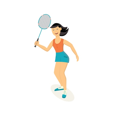 Ilustración de Vector sportswoman playing badminton holding racquet smiling. Beautiful sportive woman working out with racket. Female athletic character and healthy lifestyle. Isolated illustration - Imagen libre de derechos