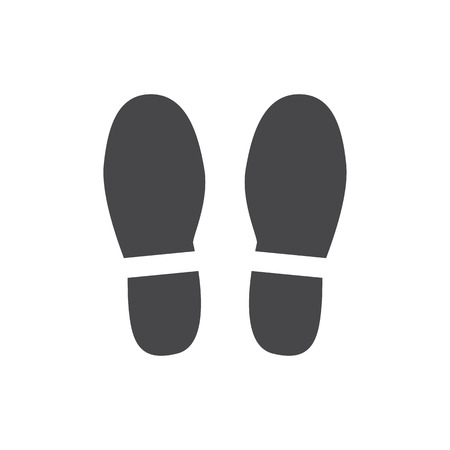 Illustration pour Vector abstract human boot, or sneakers shoe footprint icon. Black silhoette of footwear footmarks. Hiking equipment or army outdoor footwear. Isolated illustration - image libre de droit