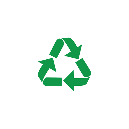 Illustration for Vector illustration of recycle and zero waste symbol with green arrows in form of triangle isolated on white background. Eco friendly materials and global environmental protection concept. - Royalty Free Image