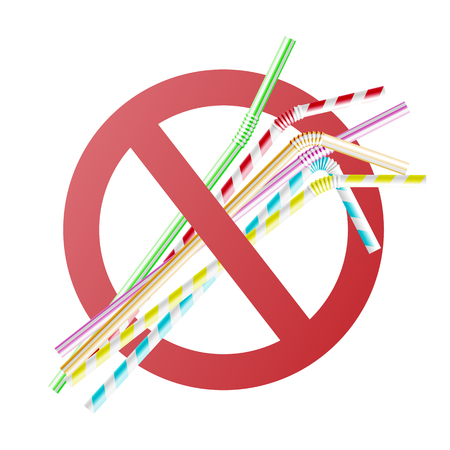 Ilustración de Vector no to plastic straws concept with colorful cocktail straws in red crossed circle. Environment pollustion prohibition, forbidden of disposable garbage cant be recycled. - Imagen libre de derechos