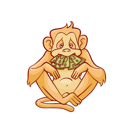 Illustration pour Vector illustration of monkey dont speak because of stack of green banknotes in his mouth in sketch style isolated on white background - hand drawn wild animal with mouth covered with money. - image libre de droit