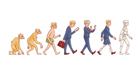 Illustration for Vector evolution concept with ape to cyborg and robots growth process with monkey, caveman to businessman in suit, artificial legs person and robotic creature. Mankind development - Royalty Free Image