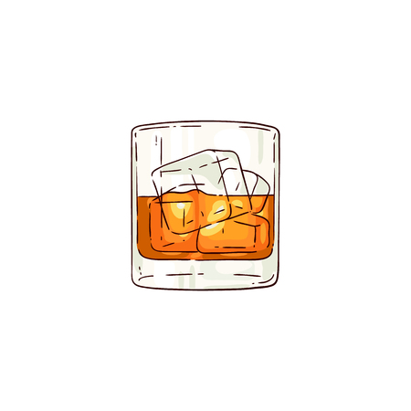 Ilustración de Vector whiskey or rum glass with ice cubes sketch icon. Alcohol drink cup for luxury celebration or product advertising design. Party drink shot with orange liquid. Isolated illustration - Imagen libre de derechos