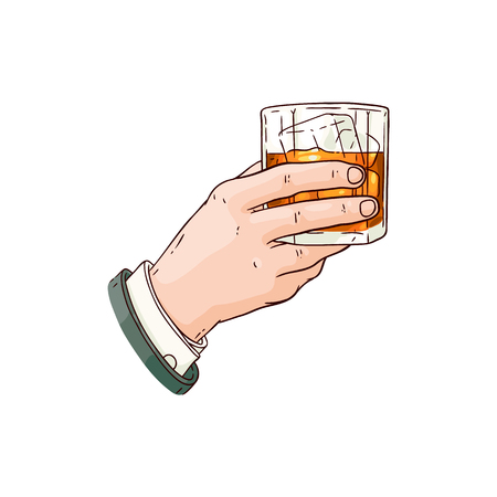 Illustration for Vector businessman hand holding whiskey or rum glass with ice cubes sketch icon. Alcohol drink cup for luxury celebration or product advertising design. Party drink shot with orange liquid - Royalty Free Image