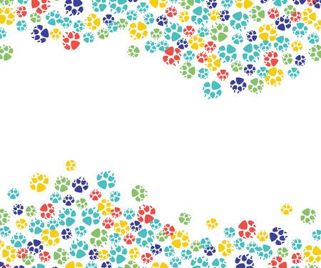 Illustrazione per Vector abstract animal paw footprint pattern for veterinar design. Cat, dog pets colorful feet track template, frame with space text. - Immagini Royalty Free