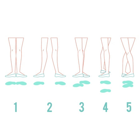 Illustration pour Vector illustration set of ballerina feet in pointe shoes standing in five classical ballet positions in flat line style isolated on white background - female legs performing ballet technique. - image libre de droit